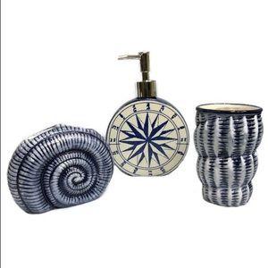 Nautical Beach Vanity Accessory Ceramic Set Blue